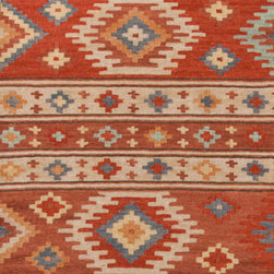 Area Rugs - Beautiful rusty red southwest pattern kilim area rugs at J Brulee Home.  www.jbrulee.com