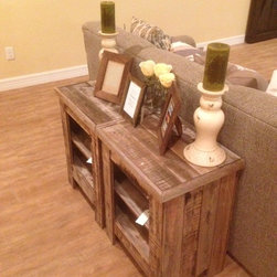 Barn Wood Style Tables - 2 shelves; all reclaimed wood