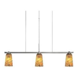 """Oggetti Luce - Carnevale Taupe Feather Linear Suspension by Oggetti Luce - Like Goldfinches in flight. The Oggetti Carnevale Taupe Feather Linear Suspension features an attractive blend of colors--yellow, black and orange swirl gracefully around clear, handmade glass shades. Height is adjustable to accommodate for a range of ceilings.Comprised of several lighting collections primarily from Italy, Oggetti Luce markets exclusive, one-of-a-kind glass, bone and resin pieces that have been individually hand-formed and mouth-blown by skilled artisans. Each Oggetti Luce fixture reflects the quality and craftsmanship of centuries-old glass blowing or mosaic tradition, and most pieces are signed by the artist.The Oggetti Carnevale Taupe Feather Linear Suspension is available with the following: Details:Handmade Taupe Feather glass shadesRectangular ceiling canopy120"""" adjustable cableMetal supportsSatin Nickel finishUL ListedMade in Murano, ItalySigned """"Oggetti""""Options: Number of Lights: 3 Light, or 4 Light.Please Note:  Oggetti Luce shades are all handmade. There will always be variations, sometimes in size and often in color. This is typical of a handmade product and contributes to its beauty.Lighting:3 Light option utilizes three 60 Watt 110 Volt G9 Base Halogen lamps (included).4 Light option utilizes four 60 Watt 110 Volt G9 Base Halogen lamps (included).Shipping:This item usually ships within 3 to 5 business days."""