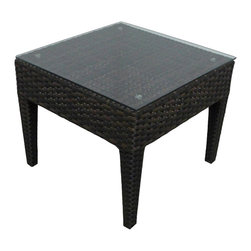 Zen Wicker Outdoor End Table - This Zen Wicker Outdoor End Table - Source Outdoor perfectly complements any Zen seating arrangement and is a great place to rest magazines for summer reading.