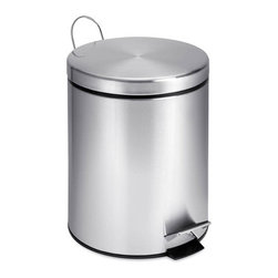 5L Round Stainless Steel Step Can - Honey-Can-Do TRS-01449 Round Stainless Steel Step Trash Can. A contemporary addition to any home or office, this 5L (1.3 gallon) trash can is the perfect size for a bathroom or home office and boasts sturdy construction for daily use. A steel foot pedal provides hands-free operation to keep germs at bay. A plastic inner trash bucket is fully removable for easy emptying and cleaning. The brushed stainless, hand print resistant exterior is easy to clean and features a metal fold down carrying handle.