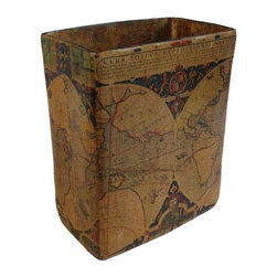 Used Vintage Map Bin - Now your kids can have a geography lesson at the same time they are taking out the trash!