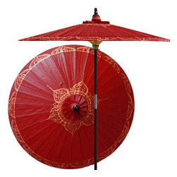 "Oriental-Décor - Siamese Dream (Oxblood Red) - Simple yet elegant, this stunning patio umbrella features a traditional Asian design in gold color on an oxblood red canvas shade.  The color red is a very favorable one in Asian culture, while gold is considered sacred. This marvelous new design for 2009 will make a beautiful decorative display in any outdoor area.   - 7 foot umbrella pole constructed of rich stained oak hardwood.  - Each umbrella is entirely handcrafted down to the finest detail.  - Oil-treated cotton umbrella shades are all hand-painted by our master artists.  - Dual position shade height allows for full coverage or a better view of the painted shade.  - Waterproof and weatherproof.  - Two-piece pole fastens securely with a polished metal coupling.  - Pole diameter of 1.5"" easily fits into any standard size umbrella base or table.  - Optional umbrella base available - handcrafted from stained oak hardwood."