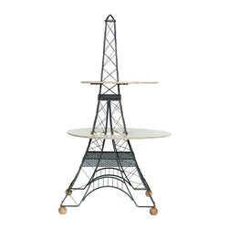 "Pre-owned Mid-Century 2 Tier Eiffel Tower Brass Table - Calling all Francophiles! This mid-Century era 2 tier Eiffel Tower sculptural table is made with a black painted solid brass wire frame table base and 2 formica platforms. Table measures over 4' foot tall! The first tier measures 28"" wide, and the second tier measures 21"" wide. This table is the definition of ""conversation piece""! Would be adorable in a little girl's room!"