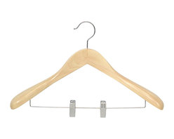 Proman Products - Proman Products Taurus Wide Shoulder Suit Hanger with Clips in Natural - Taurus suit hanger with clips, natural wood finish, 12 pcs per case.