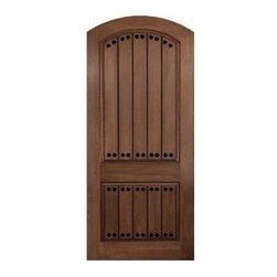 Rustic Series Doors - RUSTIC W CLAVOS_Two Panel w Plank_ Arch Plank, Arch Top