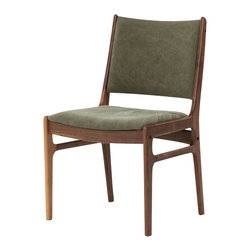 Marco Polo Imports - Cephas Side Chair - Green - Classic side chair with pristine walnut frame and two lovely green cushions.