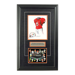 """Heritage Sports Art - Original art of the NCAA 2004 Miami Hurricanes uniform - This beautifully framed NCAA football piece features an original piece of watercolor artwork glass-framed in an attractive two inch wide black resin frame with a double mat. The outer dimensions of the framed piece are approximately 17"""" wide x 28"""" high, although the exact size will vary according to the size of the original piece of art. At the core of the framed piece is the actual piece of original artwork as painted by the artist on textured 100% rag, water-marked watercolor paper. In many cases the original artwork has handwritten notes in pencil from the artist. Simply put, this is beautiful, one-of-a-kind artwork. The outer mat is a rich textured black acid-free mat with a decorative inset white v-groove, while the inner mat is a complimentary colored acid-free mat reflecting one of the team's primary colors. The image of this framed piece shows the mat color that we use (Orange). Beneath the artwork is a silver plate with black text describing the original artwork. The text for this piece will read: This is an original, one-of-a-kind watercolor painting of the 2004 Miami Hurricanes uniform worn by #6 Antrel Rolle and was used in the creation of this Miami Hurricanes uniform evolution print and thousands of Miami products that have been sold across North America. This original piece of art was painted by artist Nola McConnan for Maple Leaf Productions Ltd. Beneath the silver plate is a 6.5"""" x 7"""" reproduction of a uniform evolution print that celebrates the history of the team. The print beautifully illustrates the chronological evolution of the team's uniform and shows you how the original art was used in the creation of this print. If you look closely, you will see that the print features the actual artwork being offered for sale. The 6.5"""" x 7"""" print is shown above. The piece is framed with an extremely high quality framing glass. We have used this glass style for many years with e"""