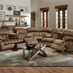 None - Carrington Motion Brown Plush Mink 3-piece Sectional Sofa - This gorgeous,comfortable,3-piece sectional sofa features a reclining sofa with a drop-down table,a reclining loveseat with a console and a large corner wedge. Brown,padded suede microfiber upholstery provides comfort and style