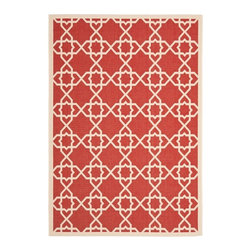 Safavieh - Safavieh Poolside Red/ Beige Indoor Outdoor Rug (9' x 12') - Give any area a pop of color with this red indoor outdoor rug. The power-loomed rug is crafted from polypropylene material and features a red background with beige accents. This rug is resistant to mold,mildew,water,and other elements.