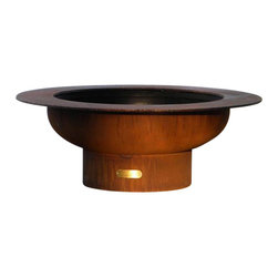 "Fire Pit Art - Saturn Outdoor Fire Pit, Without Lid - With a spectacular ring feature circling its bowl, the Saturn Fire Pit offers both a dynamic and functional design. Gather round this grand pit for a luxurious fire experience you'll enjoy late into the night. Made from 1/4"" thick mild carbon steel, this durable pit a high temparture resistant inner bowl with rain drain. For a truly maintenance-free experience, it's made of American steel which offers corrosion and rust restistance for longevity during extended outdoor use. A charming outer iron oxide patina ages and darkens with time and is maintenance free.  Each dyanmic fire pit is numbered by the artist and reflected on an attached brass plate.SpecificationsMaterial: 1/4"" Thick Mild Carbon SteelUse: Outdoors in outdoor living spacesMore Info: Pre-drilled rain drain for carefree maintenance      Warranty: 10-year warranty (after date of purchase)  Made in: USA (Made in America)"
