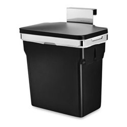 Simplehuman - simplehuman 10-Liter In-Cabinet Can - This innovative garbage can hangs inside your kitchen cabinet door for quick access. The durable plastic bucket removes easily for emptying, is grocery bag compatible, and is held securely in place by a sturdy, chromed steel frame.