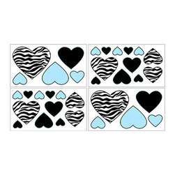 Sweet Jojo Designs - Zebra Blue Wall Decal Set of 4 Sheets by Sweet Jojo Designs - The Zebra Blue Wall Decal Set of 4 Sheets by Sweet Jojo Designs, along with the  bedding accessories.
