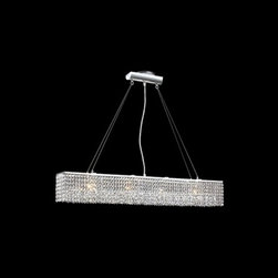 James R. Moder Lighting - Crystal Chandelier with Clear Glass in Silver Finish - 40586S22 - The striking design of this glistening chandelier will be sure to turn some heads. Fabulously modern design gives this rectangular crystal chandelier its edge. Make a statement in your entryway or over your kitchen island with this six light crystal chandelier. This fixture's measurements include; a width of 37�, a body height of 6�, with a wire cable of 54�, a length of 6�, and a shade width of 37�. This fixture is cable hung with a silver finish. Takes (6) 50-watt halogen G9 bulb(s). Bulb(s) sold separately. Dry location rated.
