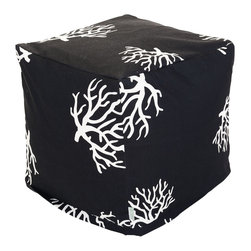 Majestic Home - Outdoor Black Coral Small Cube - This update on the beanbag functions as a footstool, side table or comfy seat — indoors or out, with UV protection built into the fabric. The coral print is perfect for your beach house — or wherever your decor celebrates the sea.