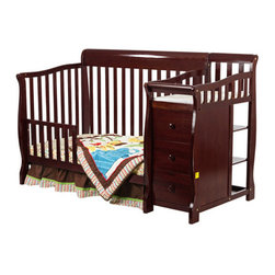 "Dream On Me - Brody 4-in-1 Convertible Crib and Changer - The Dream on Me 4 in 1 Brody Convertible is a beautifully constructed, rugged, multipurpose, convertible crib with attached 3 drawer changing table. Never buy another piece of juvenile furniture as this crib transitions with your baby to a toddler bed, a day bed and then a full size bed. This crib comes standard with a stationary (non drop side) rail system for safety and three level mattress support for convenience. The changing table is furnished with a custom fit 1"" changing pad featuring a security strap with easy release buckle to secure baby safely in place as well as 3 spacious drawers for all of baby's essentials. Accommodates a Dream on Me standard crib mattress (sold separately). Features: -Brody collection. -Material: Solid wood. -Stationary rail. -Easy to reach your baby. -Sits low to the floor, adjustable mattress support. -Transitions with your baby to a toddler bed, a day bed and then a full size bed. -Tools are included. -30 Days limited manufacturer's warranty. -Due to natural materials being used in the manufacturing process, the hue of the crib may vary. Dimensions: -43"" H x 33"" W x 69"" D."