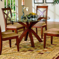 Homelegance - Star Hill 5-Pc Round Dining Set - Modern and stylish with a look that is well suited to both casual and elegant dining spaces, this five-piece glass topped dinette set will be a stylish addition to your dining decor. Enhanced by graceful X-shaped wood accents in cherry finish, the set includes a round glass topped dining table and four upholstered side chairs with graceful X-shaped backs. Includes table and four side chairs. Glass top. Round shape. X back. Upholstered seat. Cherry finish. Table: 48 in. Dia. x 30 in. H. Chair: 20 in. W x 23.5 in. D x 39.5 in. H