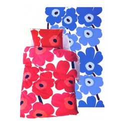 UNIKKO Duvet Cover from Marimekko - Marimekko's wildly popular UNIKKO fabric is now available in a the form of a duvet cover. Bring these pop floral poppies to into your bedroom and enjoy bright flowers all year round.