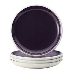 Rachael Ray - Rachael Ray Dinnerware Rise Purple 4-Piece Stoneware Salad Plate Set - With eye-catching shape,style and two-tone hues,these plates are ideal for mixing and matching with other dishes in the Rise collection to create a personalized table setting. The salad plate set is crafted from durable glazed stoneware.