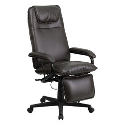 Flash Furniture - High Back Brown Leather Executive Reclining Office Chair - Go from sitting to a Reclined and Relaxed position in seconds with this Reclining High Back Executive Office Chair! Now you can have the best of both worlds with this dual designed office chair that offers you the comfort of a recliner in an office chair. This office chair offers you the standard pneumatic seat height adjustment with the added bonus of a reclining back and easy touch adjustable footrest.