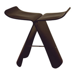 Wholesale Interiors - Dark Brown Bentwood Chair - Many uses: in the home, office, cafe, reception area, or training room. Executed using the pressed plywood molding technique, this graceful stool surely upgrades your deco. No assembly required.