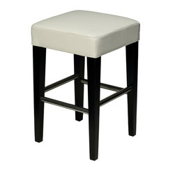 Cortesi Home - Cortesi Home Backless Counter Stool in Genuine Leather, Snow White - The  counter stool comes in a  genuine leather. This stool features chrome leg support bars for durability and ease of cleaning. The frame is solid wood with a black finish. No assembly required.  Quantity of 1.