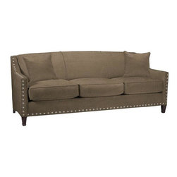 Home Decorators Collection - Custom Rockford Sofa - Customize our Rockford Sofa to be the perfect match for your living room furniture. This sofa's simple lines are exemplified in the tight, tailored back; optional nailhead trim enhances the classic look. Double-dowel joints, mortise and tenon joints and corner blocking ensures stability and structural integrity. This hand-assembled piece is also eco-friendly. The solid wood frame is sourced domestically from replenished forests. The heavy-gauge springs are made of recycled iron ore. And finally, the high resiliency cushions are partially plant-based, reducing the use of petroleum, and they do not contain dangerous chemicals such as formaldehyde. Choose from a variety of plush fabrics and make this exceptional piece your own. Wood legs in espresso finish. Optional nailhead trim in nickel finish. Solid wood frame. Heavy gauge springs. High resiliency cushions. Assembled in the USA and delivered in approximately 4-6 weeks.