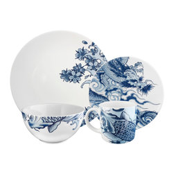 Ink Dish - Irezumi 16-piece Dinnerware Set by Paul Timman - Unlike traditional blue and white china patterns, each piece in this updated set zooms in on one focal point: a fish, dragon or cherry blossoms. Imagine a tablescape that mixes and matches this contemporary set with classic pieces — gorgeous!
