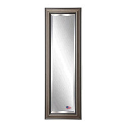 Rayne Mirrors - American Made Antique Silver 21 x 60 Slender Beveled Body Mirror - Tall mirrors work wonders to seemingly expand space while defining a look that coordinates well with any style of decor. This antique smoked silver frame features raised levels to it's profile adding depth to its shimmering mirror. Each Rayne mirror is hand crafted and made to order with American products.  All hardware included for vertical or horizontal hanging, or perfect to lean against a wall.