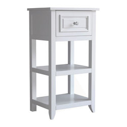 Elegant Home Fashions - Dawson Floor Cabinet With One Drawer and Shelves - The Dawson Floor Cabinet with One Drawers and Shelves from Elegant Home Fashions comes in a white finish. This floor cabinet blends old-world and contemporary styling for a charming look that complements any bathroom. The cabinet design offers ample storage. The cabinet features two fixed shelves and one drawer. The metal glider drawer allows for easy open and close operation. The crisscross accent on the door's glass panel and clear knob add a charming touch. This cabinet comes with assembly hardware.