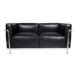 IFN Modern - Le Corbusier LC3 Style Loveseat - Created by one of the most well-known Swiss-French architects Le Corbusier (Charles-Edouard Jeanneret-Gris), the LC line is Le Corbusier's successful effort at fusion of urban style with the industrial steel age as a breakthrough to modernism. Like a cushion cradle, the LC Reproduction line boasts a unique, stylish and attention-grabbing externalized frame that holds the cushions like little baskets. Originally designed for the Maison la Roche in Paris as part of Le Corbusier's 2 projects, the final product of chrome-plated tubular steel chairs have now become an iconic timeless collection imbued with elegance and class. As a specialized manufacturer of famous mid-modern designer furniture, the LC Line Reproduction by IFN Modern also reflects these qualities not only in terms of classy and elegant appearance but also in utmost care in details such using premium construction material in 100% full grain leather and solid stainless steel.  This collection features:1.A grander version of the LC 2 loveseat to hold 2 individuals comfortably in style 2.Signature look of externalized steel frame 3.Plush cushions that stay in shape to cradle the contours of the delicate body for a perfect fit and comfortable session. 4.Back to front to bottom, side to side fully upholstered in full grain Italian/Aniline leather5.Hassle-free  maintenance from easily detachable cushions from frame 6.Functionally elegant piece to dazzle any living space•Product is upholstered in 100% Full Grain Italian Leather, 100% Full Grain Aniline Leather or Fabric  •Variety of colors available•Long lasting durability and strength with high grade solid stainless polished steel frame resistant to chipping/rusting.•Silky smooth corners from detailed welding, grinding and sanding•Balanced stability on all surfaces with adjustable floor-leveling footcaps•Plush cushions that stay in shape for short-long sessions comfort with high density injected foam.