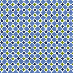 Blue and Green Windowpane Fabric - Windowpane features a fun geometric pattern in shades of seaside blue and soft lime. Printed on 100% cotton it is the perfect companion fabric for our Make Waves fabric.