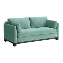 Apt2B - Avalon Sofa, Sixties Blue, 79x37x30 - With its sleek arms and solid wood base, this sofa gives you big style while making a smaller footprint on your floor space, your wallet and the environment. Its smooth, stain-resistant upholstery comes in a handful of soft, neutral colors, including a fab retro blue-green.