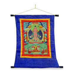 China Furniture and Arts - Tibetan Tang Ka Tapestry - A reproduction of the antique Tang Ka, we commissioned a Tibetan artist, a specialist in 18th and 19th century Tang Ka, to replicate the original exclusively for our patrons. Hand painted with deft precision on paper and matted on silk, the Tang Ka captures the power, beauty and every subtle nuance of color of the original.
