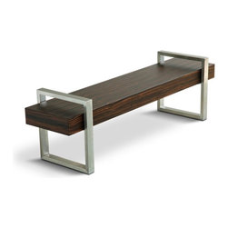 Gus Modern Return Bench - I'm crazy for metal and wood together, whether in the same piece of furniture or mixed and matched in a room. This simple bench has just the right amount of each material, emphasized by two open squares and a long solid rectangle. It's brilliant, and it can serve you well as a bench or coffee table in any room of your home.