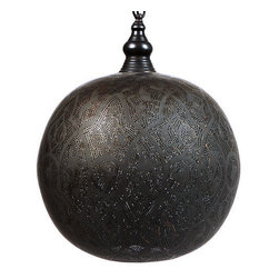 """l'aviva home - Egyptian Arabesque Pendant Light, Black Oxidized, 20"""" Diameter - Crafted using time-honored techniques, the ornament of these egyptian spheres is inspired by traditional flowing arabesque designs. Etched and pierced by hand, the patterns - held to symbolize infinity and eternity - cast dancing shadows on surrounding surfaces."""