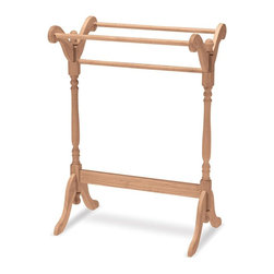 International Concepts - Quilt Stand Or Clothes Drying Rack - Keep your laundry room organized or give your pool patio much needed function - it's up to you with this stylish clothes drying rack. Wood construction features a trio of rods and turned legs. Wide feet provide excellent stability. Optional stain kit available. Made of ParaWood. Unfinished. Minimal assembly required. 19 in. W x 28 in. L x 39.5 in. H
