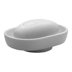 Gedy - Countertop White Porcelain Soap Dish - Decorative, unique round white porcelain soap dish or holder for countertops or vanity.