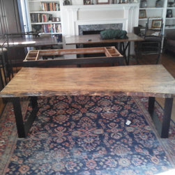 Live Edge Silver Maple Dining Table - Spalted, live edge maple slab with iron band base