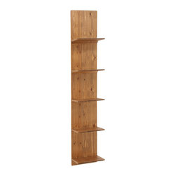 Honeyed Plank Wall Rack - Books and other storied goodies look great displayed on this slim wall-mounted shelving. Its richly finished natural wood adds a warm country feel to your space.