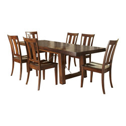 Liberty Furniture - Liberty Furniture Tahoe 7 Piece 90x40 Rectangular Dining Room Set in Mahogany - Tahoe rustic styling and refined design create a perfect combination to blend into any home decor. Featuring birch veneers in a rustic mahogany stain with an iron support stretcher with turnbuckle details. A wide slat back chair with a wood seat completes the simple, inviting style. Pair the table with a bench for a picnic style look. Wide slat back chair features tapered legs and a wood seat. Optional bench for additional seating or more rustic appeal. Sliding top server features a laminate work surface under a sliding top. Creates more serving space when opened. Two storage drawers and bottom sliding doors round out this functional piece. 10 bottle wine storage shelves are concealed behind the sliding door. What's included: Dining Table (1), Side Chair (6).
