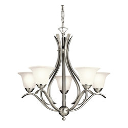 BUILDER - BUILDER Dover Energy Efficient Transitional Chandelier X-IN02301 - From the Dover Collection, contemporary curves are blended with traditional influencing for an updated look on this Kichler Lighting chandelier. Complete with energy efficiency, Brushed Nickel finish and etched seedy glass, this fixture will compliment a number of spaces.