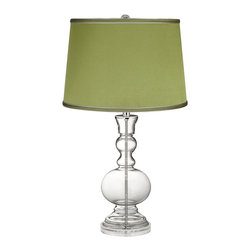 Color Plus - Clear Fillable - Satin Olive Green Shade Apothecary Lamp - This apothecary-style Clear Fillable designer glass table lamp features a stylish olive green satin drum shade. The apothecary style glass table lamp offers a wonderful style accent. The clear glass base can be filled with your favorite collectible - from seashells to glass beads, the possibilities are endless! The design features a clear lucite base and is topped with a stylish olive green satin drum shade. Lamp base U.S. Patent # 8,899,798.