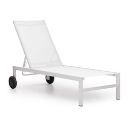 "ZUO - Castle Peak Chaise Lounge - White - Lounge chairs don't often merit the word ""sophisticated"", but the sleek Castle Peak Lounge Chair makes the grade. The frame is made of aluminum and the cover is a durable polyester mix that withstands UV rays and water. Comes in white or black and silver."