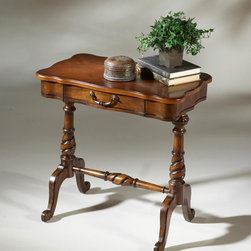 Butler - Butler Plantation Cherry Accent Table 1390024 - Selected solid woods  choice veneers and wood products. Cherry and ash burl veneers inlay design top. Drawer with antique brass finished hardware.