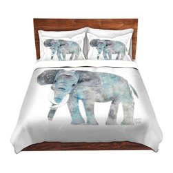 DiaNoche Designs - Duvet Cover Microfiber - Elephant - Super lightweight and extremely soft Premium Microfiber Duvet Cover in sizes Twin, Queen, King.  This duvet is designed to wash upon arrival for maximum softness.   Each duvet starts by looming the fabric and cutting to the size ordered.  The Image is printed and your Duvet Cover is meticulously sewn together with ties in each corner and a hidden zip closure.  All in the USA!!  Poly top with a Cotton Poly underside.  Dye Sublimation printing permanently adheres the ink to the material for long life and durability. Printed top, cream colored bottom, Machine Washable, Product may vary slightly from image.