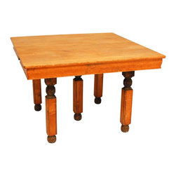 Vintage Square Wood Dining Table - Vintage square table with natural wood top and skirt. Highly detailed carved legs with ball feet. Very unique table with unknown origins. Beautiful patina to wood estimated to be circa 1920.