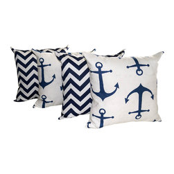 Land of Pillows - Anchors Navy and Zig Zag Chevron Navy Nautical Outdoor Throw Pillow - Set of 4, - Fabric Designer - Premier Prints
