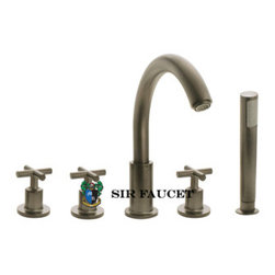 SirFaucet - Sir Faucet 716 Brushed-Nickel Roman Tub Faucet With Body Spray - 5 Hole Installation