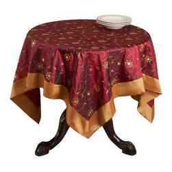 None - Embroidered/ Sequined Table Topper - This table topper features beautiful sequins and floral embroidery to add a festive touch to any setting. This topper is made from durable polyester.